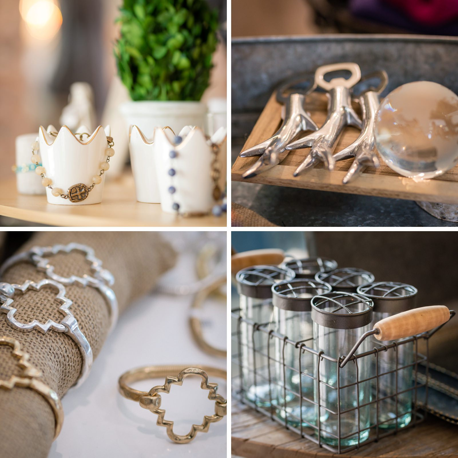 Bracelets, vases and antler bottle opener gifts at Raine Boutique Brentwood product photography